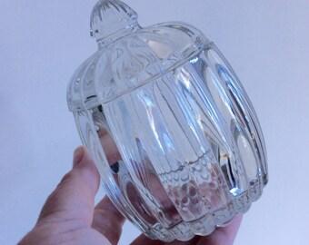 Mid century lead crystal jar with lid. Ribbed crystal canister with lid. Lead crystal jar. Candy jar. Trinket jar.