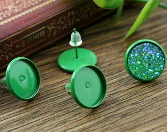 NEW - 20pcs 12mm Bezel - Painted Green Stud Earring Cabochon Settings DIY Earrings Jewelry Supply Studs Silicone Earnuts