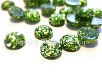 10pcs 12mm Green Glitter Resin Dome Metallic Cabochons DIY Cabochon Jewelry Supply Jewellery Supplies Mermaid Earrings Cameo Bezel
