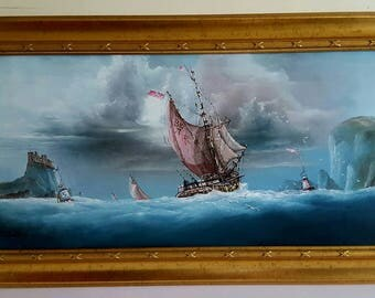 P J WINTRIP: Ships sailing off the coast Bamburgh Castle and Farne Islands Northumberland. Oil on Board