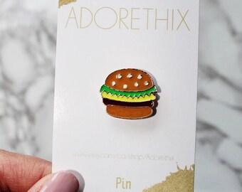 Burger, Hamburger, burger Pin, Hamburger enamel pin, Enamel Pin, Hard Enamel Pin, Jewelry, Art, Gift