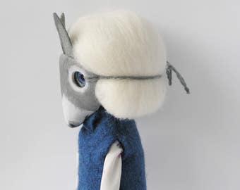 Ooak art doll with donkey mask donkey doll totem gift donkey fantasy animal rag doll donkey