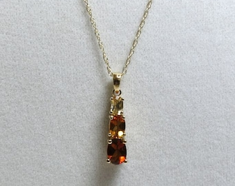citrine pendant three oval gems in 14k yellow gold