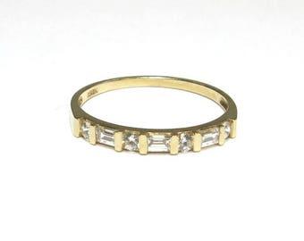 wedding band 14k yellow gold cz