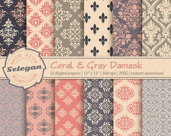 "Damask Digital Paper "" Coral & Gray Damask "" scrapbook digital printable damask background 12x12 backdrop download"
