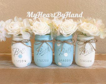 blue boy baby shower blue polka dots painted mason jars rustic home decor