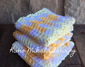 Crocheted Dishcloths  Lemon Yellow Variegated - 100% Cotton - Set of Three