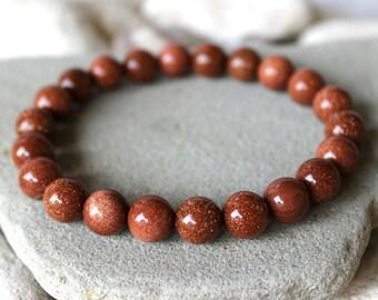Sunstone Bracelet, 10mm Sunstone Bracelet, Goldstone Bracelet, Aventurine Feldspar Bracelet, Sunstone Wrist Mala, Sandstone Bracelet