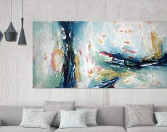 LARGE ABSTRACT Painting, Grey Red Abstract Art, Modern Art Canvas Painting, Original Acrylic Painting, Wall Art, Wall Decor Home Interiors