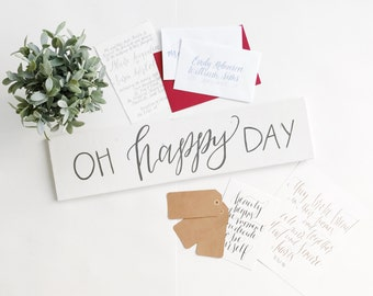 oh happy day hand lettered wooden sign