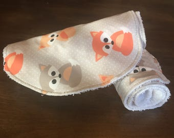 Baby Burp Cloths, Baby Gift, Baby Shower, Newborn Burp Cloths, Gender Neutral Burpcloths, Fox Burpcloths
