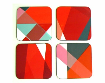 Red Glass Coasters