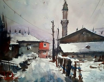 The Town in Winter Original Watercolor Painting