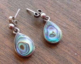 Vintage Sterling Silver 925 Paua Shell Tear Drop Studded Dangley Earrings