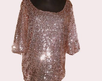 Pink sequins blouse Festive gala top Pink evening blouse Disco top plus size blouse MOD shining blouse top party top mother's day gift