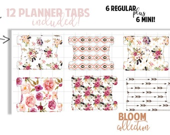 Planner Page Tabs : BLOOM COLLECTION | Set of 12 Planner Tabs | DreamPlanRepeat