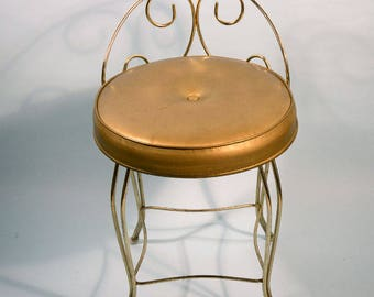 Vintage Mid Century Vanity Stool,  Brass Boudoir Seating, Gold Faux Leather Original Upholstery, Hollywood Regency Style by George Koch