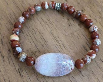 Handmade Bracelet, Fossilized Coral Stone and Red Creek Jasper