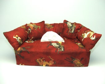 Cowboys on horses fabric tissue box cover.