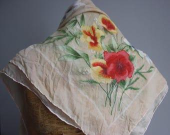 Vtg 50's Floral Scarf