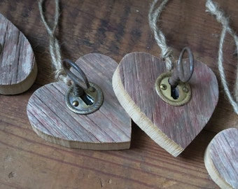 Barn Board Heart, Rustic Wood Gift, Country Decor, Hanging Wood Heart with Vintage Key
