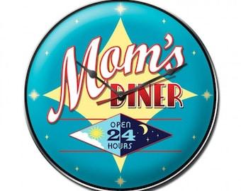 "Metal Clock "" Mom's Diner 24 Hours "" 14"" Dia. Kitchen Decor"