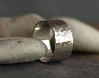 Wide hammered sterling silver unisex ring - artisan - boho - men's and women's gifts - unique wedding ring