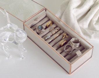 Boîte à bijoux en verre - Géométrique - Cuivre - Petite boîte anneaux - Mariage - Taupe - Menthe - Corail - Cadeau pour Elle - Mariage