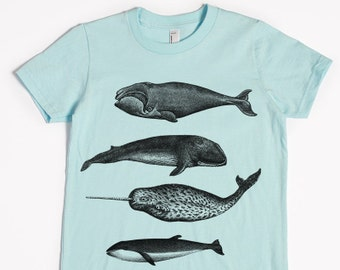 Whale Shirt - Kids' T-shirt - Children's Gift - Screen Printed Whales
