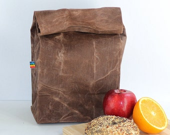 Reusable Lunch Bag - Back to School - Gift for Men - Eco Friendly - Waxed Canvas - Zero Waste - Bag for Men and Women - Brown Canvas Bag