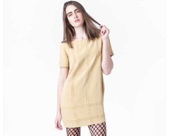 sale SILK SHIFT dress Yellow vintage Short sleeves mini 90s summer spring Small / better Stay together