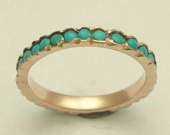 Solid Rose gold thin band, turquoise ring, minimal gemstones ring, infinity ring, wedding band, gold band, simple ring, Eternity ring RG0911