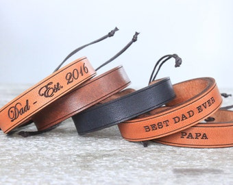 Men's leather bracelet- Father's Day -Personalized gift for men- New Dad - Boho Bracelet - Leather Bracelet- Leather Cuff
