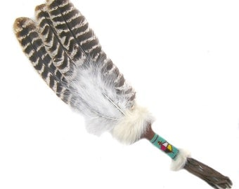 Native American (Indian) subjects with Wild Turkey feathers, handle with glass beadwork for smoking dancing or shaman
