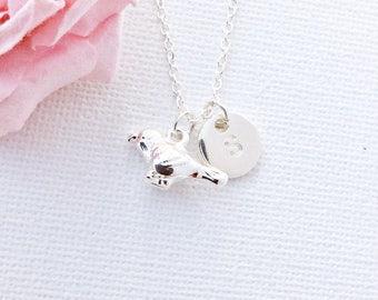 Silver bird necklace, silver bird pendant, bird necklace, birdy, birthstone necklace, initial necklace, bird necklace, baby bird necklace