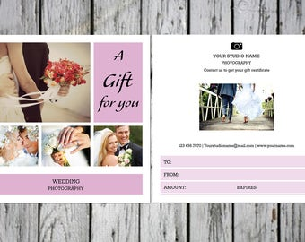Photoshop Gift Card Template  | Wedding Photography Gift Certificate Template |  Photography Marketing | Instant Download