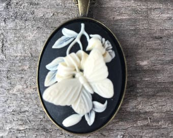 Beautiful Butterfly Cameo necklace
