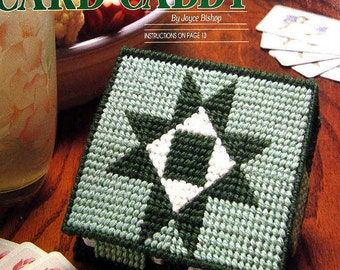Loose plastic canvas pattern for small rustic box, playing card caddy, star design