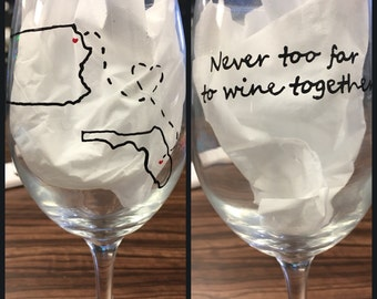 Best Friends/Distance Custom Wine Glasses