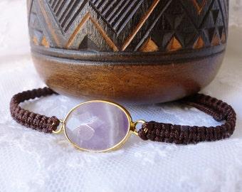 "Bracelet wrap shamballa woven spirit ""Boho-chic"" natural stone semi-precious stones, gemstones, amethyst cordon brown"