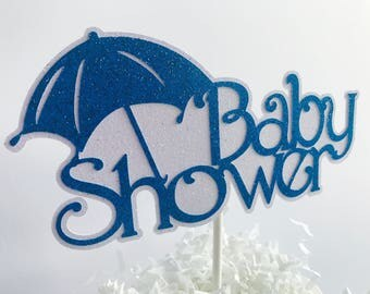 Wonderful Blue And White Glitter Baby Shower Cake Topper, Its A Boy Baby Shower