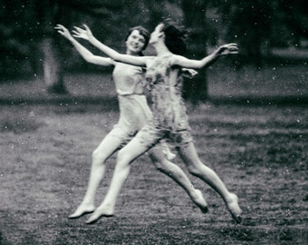 Vintage photo girls women dancing dance in the rain antique photograph 1930s PRINT poster