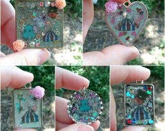Sentimental Circus pendants, Resin Jewelry, sanx characters