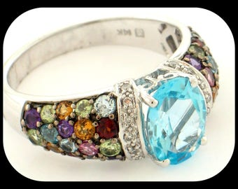 NEW Simon Golub 14K White Gold Blue Topaz Multi Gems & Diamond RING