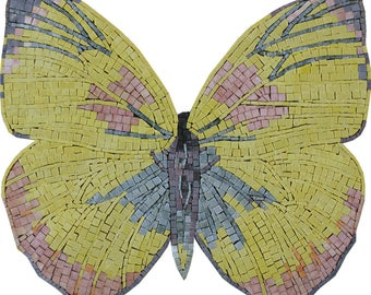 Beautiful Yellow Butterfly Kiss Marble Mosaic AN1016