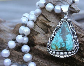 Kingman Spider Turquoise & Freshwater Pearl Necklace - 6425-46