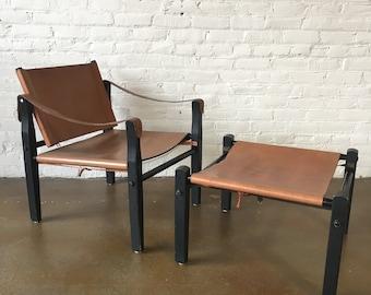 Mid-Century Safari Chair & Ottoman