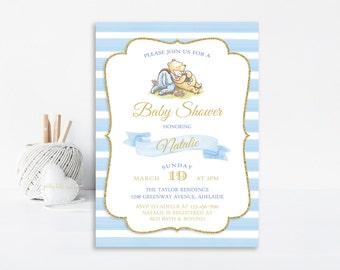 Boy Winnie The Pooh Baby Shower Invitation, Baby Shower Invite, Classic Pooh, Printable Invitation, Boy Baby Shower, Pooh Invitation