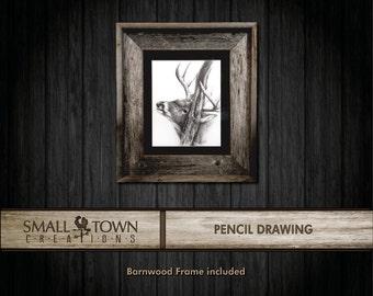 Original Pencil drawing - Deer/Buck - with barnwood frame