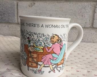 Hallmark coffee mug,  Relax There's a woman on the Job, Cartoon Humor, Vintage Hallmark coffee cup